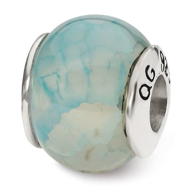 Sterling Silver Reflections Light Blue Cracked Agate Stone Bead (4mm Diameter Hole)