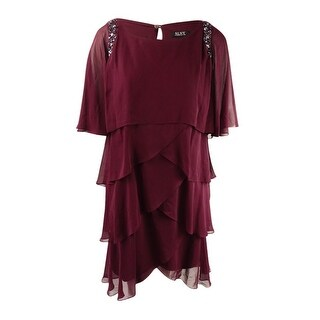SL Fashions Women's Plus Size Embellished Tiered Capelet Dress