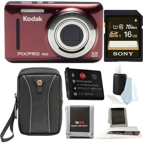 Kodak PIXPRO Friendly Zoom FZ53 (Red) w/ Sony 16GB Memory Card Bundle