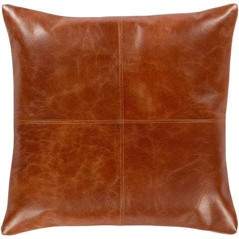 Abequa Patchwork Leather Modern Throw Pillow