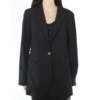 Calvin Klein Womens Jacket Black Size 8 Single Button Notched Collar