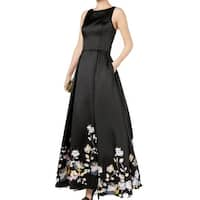 Betsy & Adam Black Women's Size 6 Floral-Hem Lace-Up Satin Gown