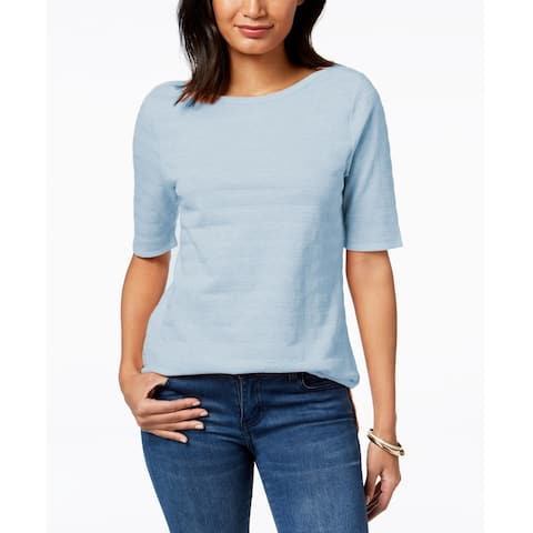 Charter Club Women's Cotton Textured Stripe Top Crystal Heather Size Extra Large - Blue - X-Large