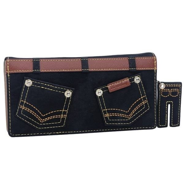 Mad Style Black Denim Pants Flat Wallet