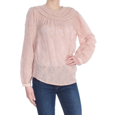 LUCKY BRAND Womens Pink Embroidered Lattice Trim Long Sleeve Jewel Neck Wear To Work Top Size: XS