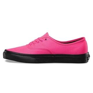 Vans Mens Authentic Slim Low Top Lace Up Fashion Sneakers (Option: black outsole neon pk/bk - 4)