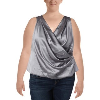 Alex Evenings Womens Plus Casual Top Satin Sleeveless