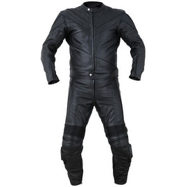 2PC Motorcycle Biker Original Drum Dyed Cowhide Race Suit CE Armor Black RS2