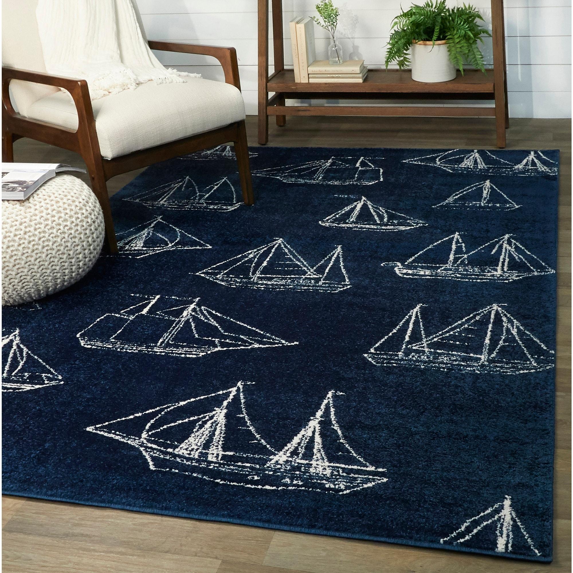 Marino Ship Sailboat Coastal Area Rug On Sale Overstock 30036614