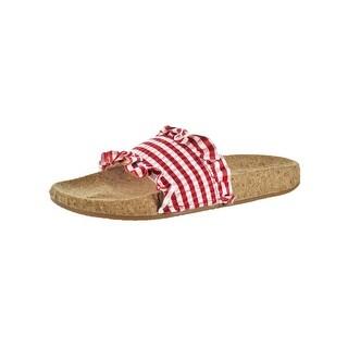 L4L by Lust for Life Womens Alexa Slide Sandals Smocked Cork