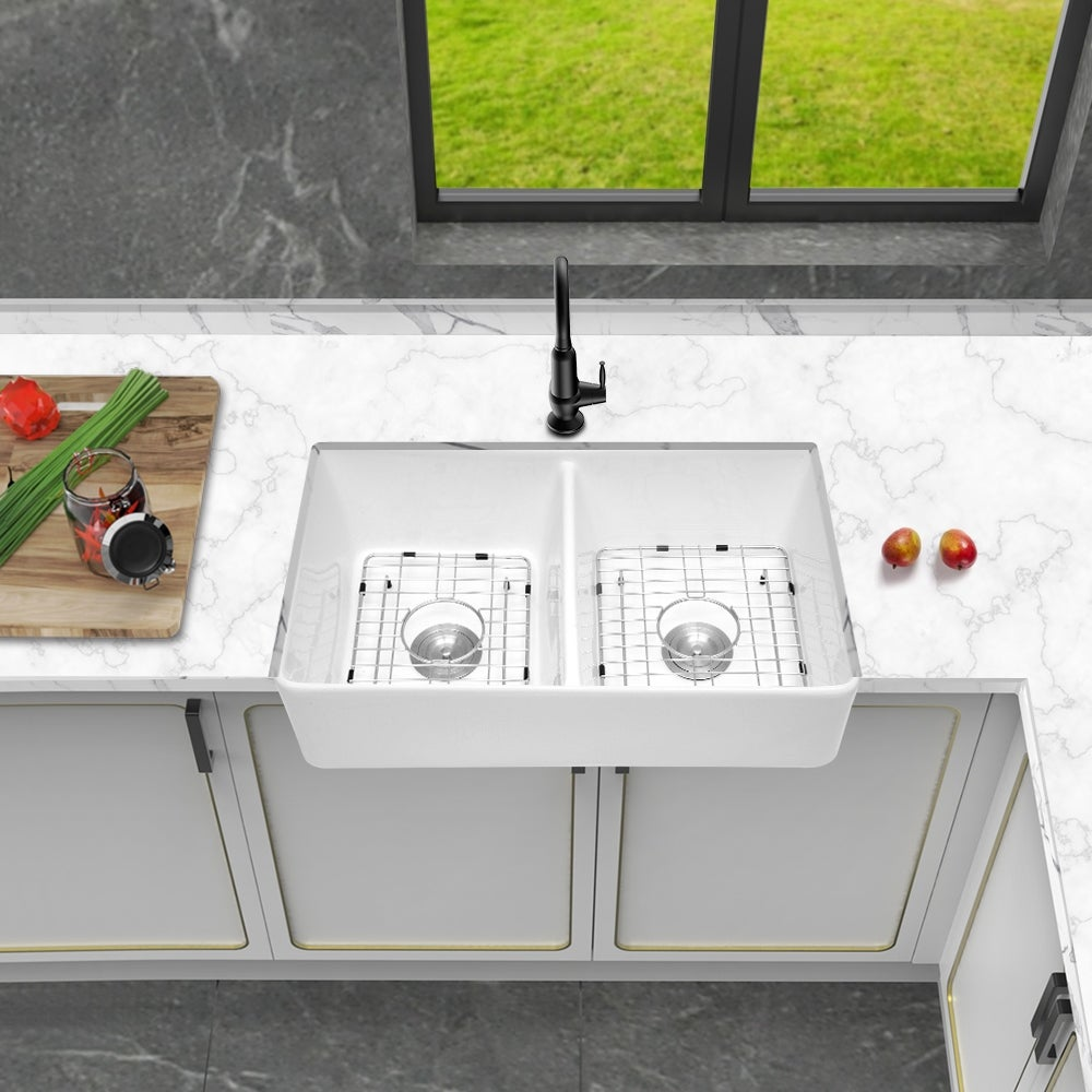 32 In Double Bowl Farmhouse Porcelain Ceramic Kitchen Sink In White On Sale Overstock 31591497