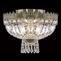 "Worldwide Lighting W33085B12 Metropolitan 3-Light 20"" Flush Mount Ceiling Fixture in Antique Bronze with Clear Crystals"