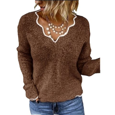 New V-Neck Knitted Cute Pullover Sweater