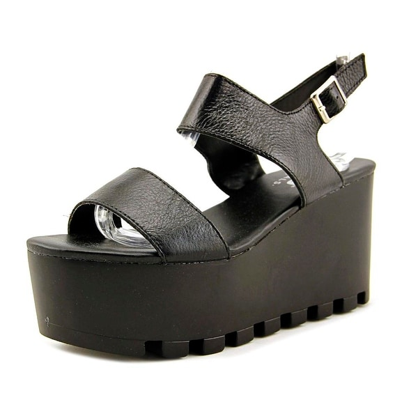 MTNG 93946 Open Toe Leather Wedge Sandal