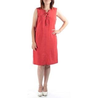 SANDRA DARREN $79 Womens New 1171 Orange Tie V Neck Sleeveless Shift Dress 6 B+B