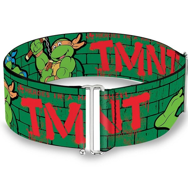 Classic Tmnt Group Pose2 Tmnt Green Brick Wall Cinch Waist Belt ONE SIZE