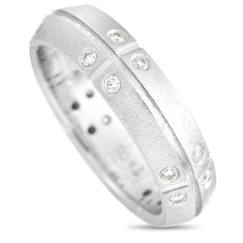 Tiffany & Co. Platinum 0.20 ct Diamond Streamerica Band Ring Size 5.25