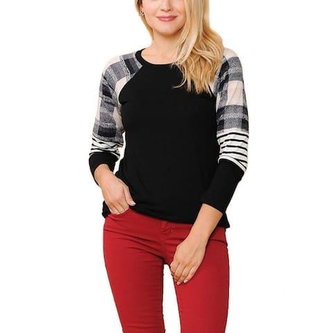 NioBe Clothing Womens Long Sleeve Plaid Stripe Colorblock Shirt