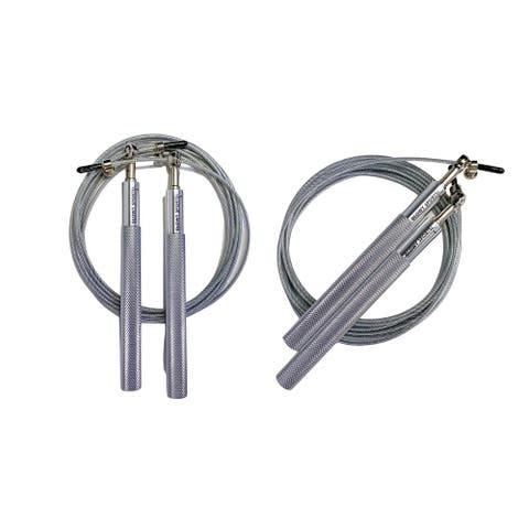 """Glowy Sports Adjustable Height Steel Jump Rope in Silver, Set of 2 - 118""""L x 0.1""""W x 0.1""""H"""