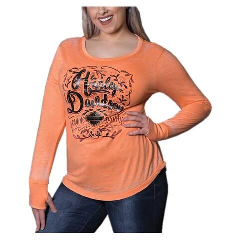 Harley-Davidson Women's Foiled Script Long Sleeve Scoop Neck Shirt, Orange