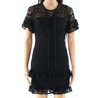 Parker Womens Ruffle Lace-Up Sheer Sheath Dress