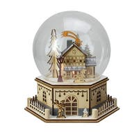 "8.75"" Christmas LED Wood Laser Cut Town Table Top Dome Decoration - CLEAR"