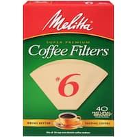 Melitta Super Premium #6 Cone Paper Coffee Filters Natural Brown, 40 Count, 2 Pack