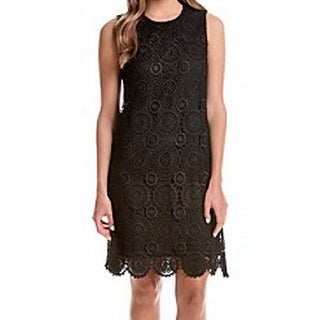 Tommy Hilfiger NEW Black Women's Size 10 Crochet Solid Seamed Sheath