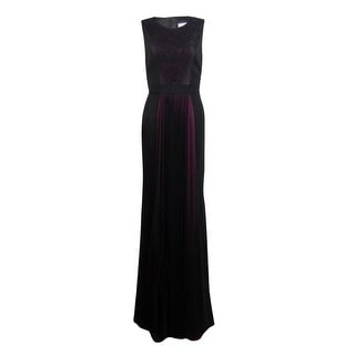 JS Collections Women's Lace Pleated Chiffon Contrast Gown