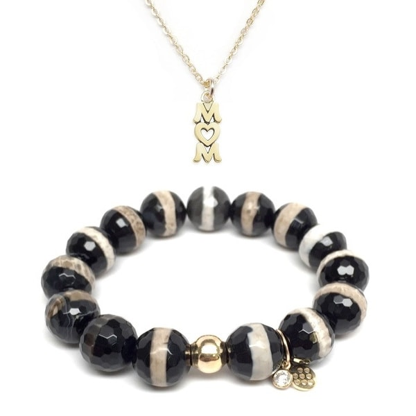 Black & White Agate Bracelet & Mom Gold Charm Necklace Set