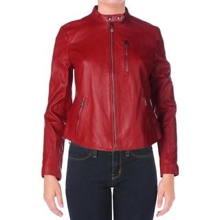 Lauren Ralph Lauren Womens Leather Lined Motorcycle Jacket