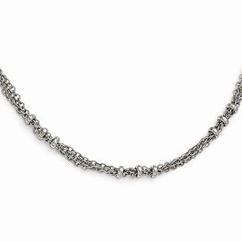 Silvertone Downton Abbey 3 Bead Design Necklace - 36in
