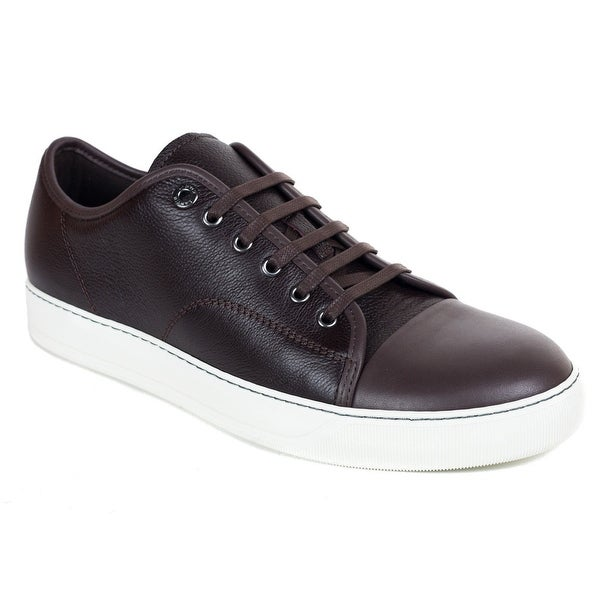 Lanvin Mens Brown Calfskin Lace Up Low Top Sneakers