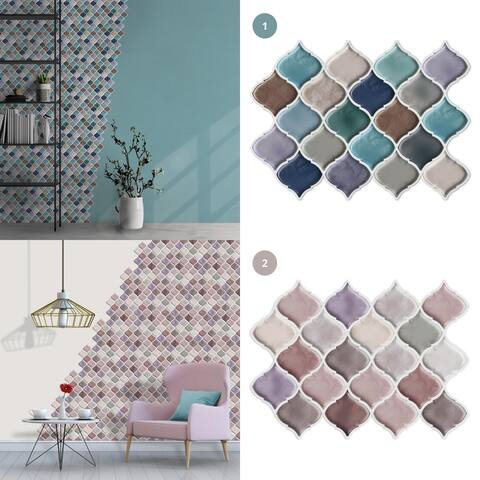 Walplus Arabesque Jewel Peel and Stick Backsplash Tile Stickers Mosaics