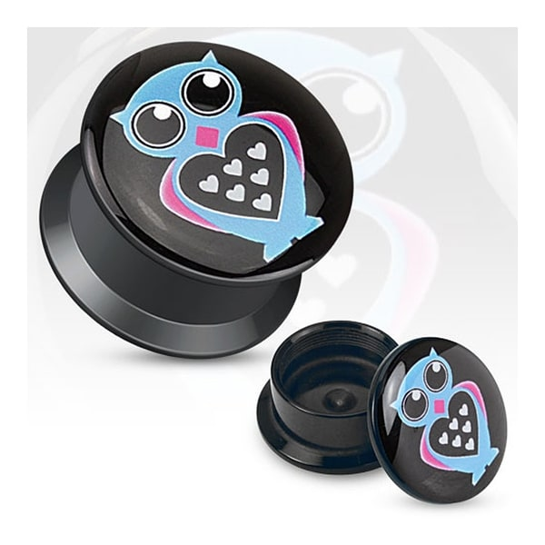 Love Owl Print Black Acrylic Flat Screw Fit Plug (Sold Individually)