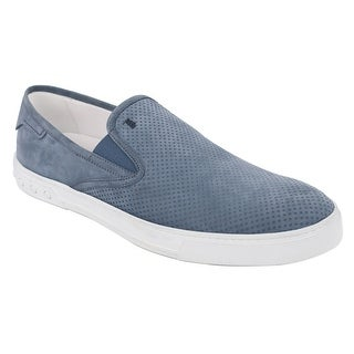 Tod's Mens Blue Perforated Suede Slip On Sneakers