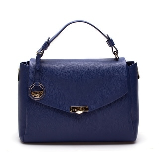 Versace Women Leather Satchel Handbag Vitello Stampa Alce Blue - S