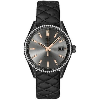 Link to Tag Heuer Women's WAR1115.FC6392 'Carrera' Diamond Black Quilted Leather Watch Similar Items in Women's Watches