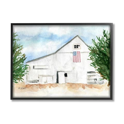 Stupell Industries American Barn Side Soft Blue Brown Watercolor Framed Wall Art