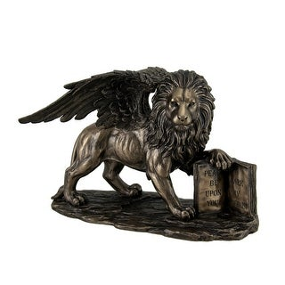 Lion of Saint Mark Winged Lion Holding Open Bible Bronze Finish Statue 10 Inch