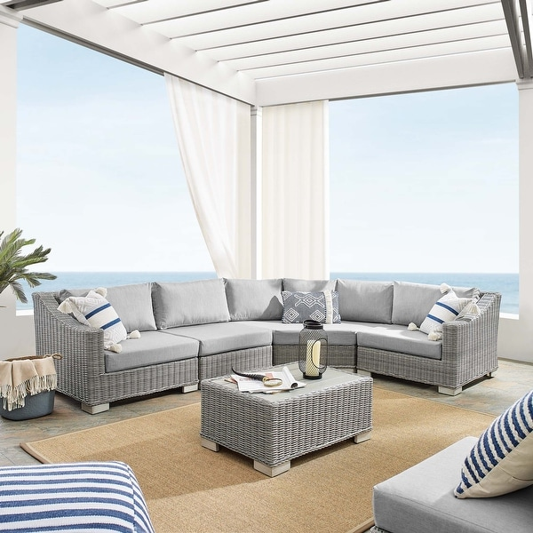 Conway Sunbrella® Outdoor Patio Wicker Rattan 5-Piece Sectional Sofa Furniture Set. Opens flyout.