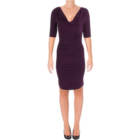 Lauren Ralph Lauren Womens Plus Wear to Work Dress Matte Jersey Ruched