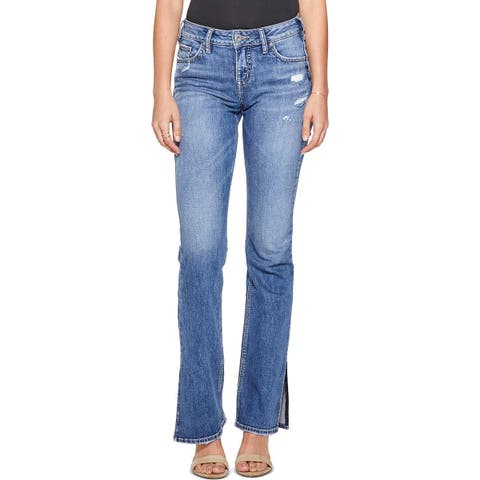 Silver Jeans Co. Womens Avery Slim Bootcut Jeans Distressed Curvy