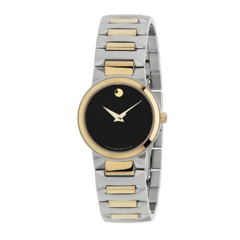 Movado Women's 0607296 'Temo' Two-Tone Stainless Steel Watch - Black