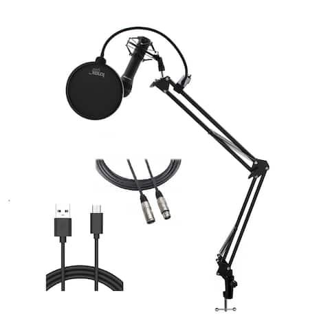 Samson Handheld USB Microphone w/ Boom Arm, Shock Mount, & Pop Filter