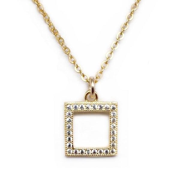 """Julieta Jewelry CZ Square Gold Charm 16"""" Necklace"""