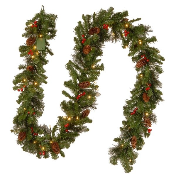 """Shop 9' x 10"""" Pre-Lit B/O Crestwood Spruce Decorated Artificial Christmas Garland - Warm White LED Lights - Green - N/A - Free Shipping Today - Overstock - ..."""