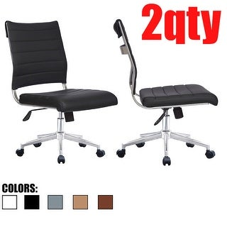 2xhome Set of 2 Modern Ergonomic Executive Mid back PU Leather Office Chairs No Arms Rest Tilt Adjustable Height With Wheels