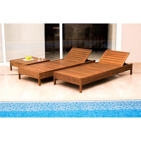 Kiobu Eucalyptus Wood Outdoor Reclining Chaise Lounge with Cushion by Havenside Home
