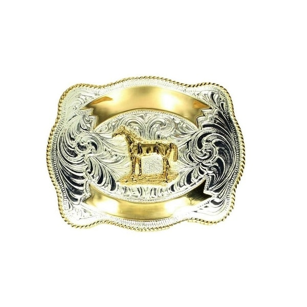 Crumrine Western Belt Buckle Standing Horse Rope Silver Gold - 3 x 4